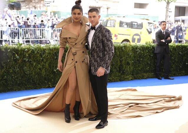 Priyanka Chopra, left, and Nick Jonas attend The Metropolitan Museum of Art's Costume Institute benefit gala celebrating the opening of the Rei Kawakubo/Comme des Garçons: Art of the In-Between exhibition on Monday, May 1, 2017, in New York