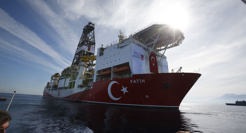 Oct. 30, 2018, Turkey's new drillship 'Conquerer' is seen off the coast of Antalya, southern Turkey