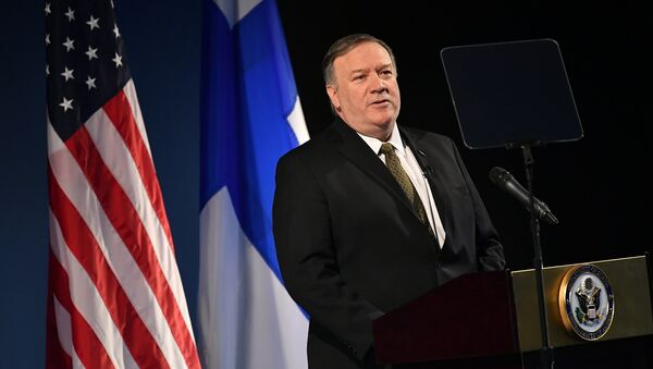 U.S. Secretary of State Mike Pompeo speaks on Arctic policy at the Lappi Areena in Rovaniemi, Finland May 6, 2019 - Sputnik International