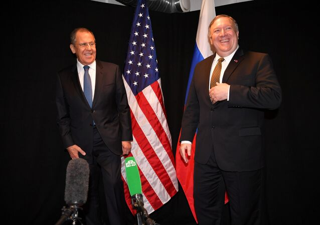 U.S. Secretary of State Mike Pompeo and Russia's Foreign Minister Sergei Lavrov pose for the press as they meet on the sidelines of the Arctic Council Ministerial Meeting in Rovaniemi, Finland May 6, 2019