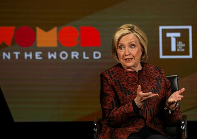 Former Secretary of State Hillary Clinton speaks on stage at the Women In The World Summit in New York