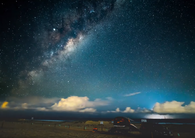 Lightning Storm Appears Amidst Milky Way Timelapse Footage