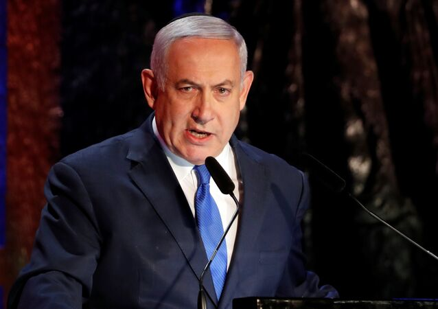 Israel's Prime Minister Benjamin Netanyahu speaks during the opening ceremony of the annual Israeli Holocaust Remembrance Day at the Yad Vashem World Holocaust Remembrance Center in Jerusalem, May 1, 2019