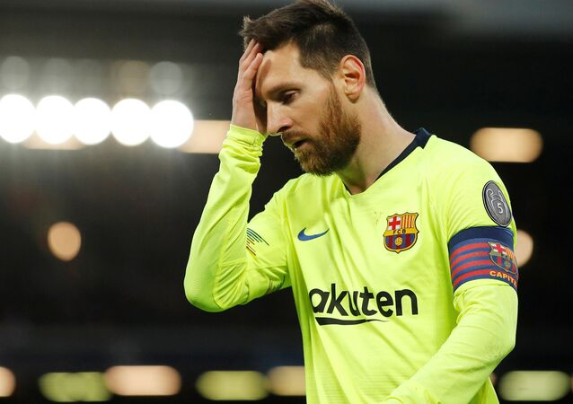 Soccer Football - Champions League Semi Final Second Leg - Liverpool v FC Barcelona - Anfield, Liverpool, Britain - May 7, 2019 Barcelona's Lionel Messi reacts