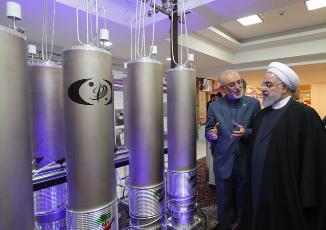A handout picture made available by the Iranian presidential office shows, Iranian President Hassan Rouhani (2nd L) listening to head of Iran's nuclear technology organisation Ali Akbar Salehi (R) during the nuclear technology day in Tehran on April 9, 2019