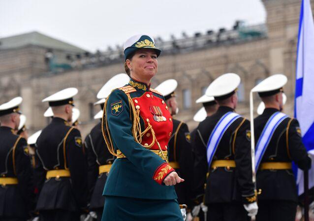 Woman at the military parade