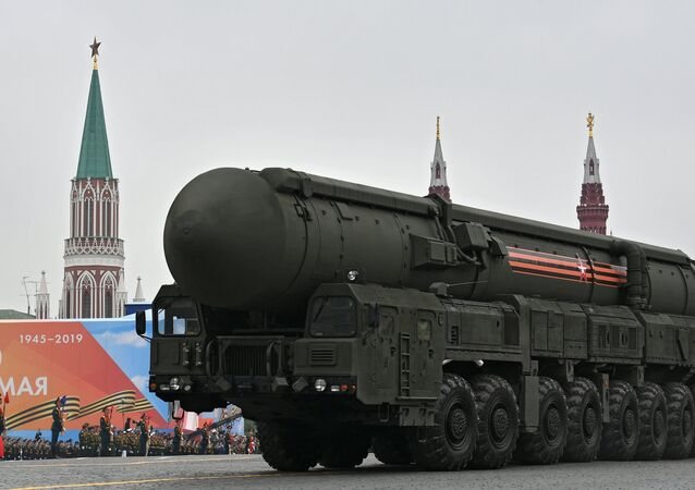 A Russian RS-24 Yars intercontinental ballistic missile system rolls down the Red Square during the Victory Day parade in Moscow on 9 May, 2019