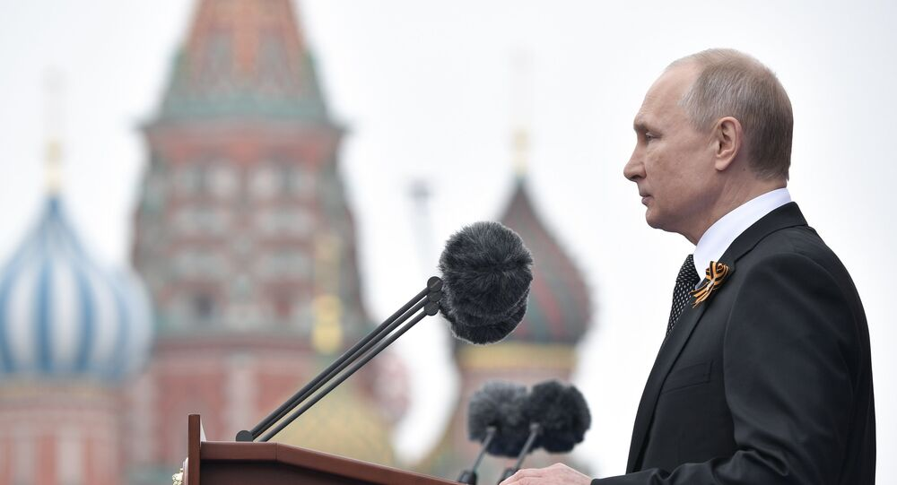 Russian President Vladimir Putin delivers his speech during the Victory Day parade at the Red Square in Moscow on 9 May, 2019