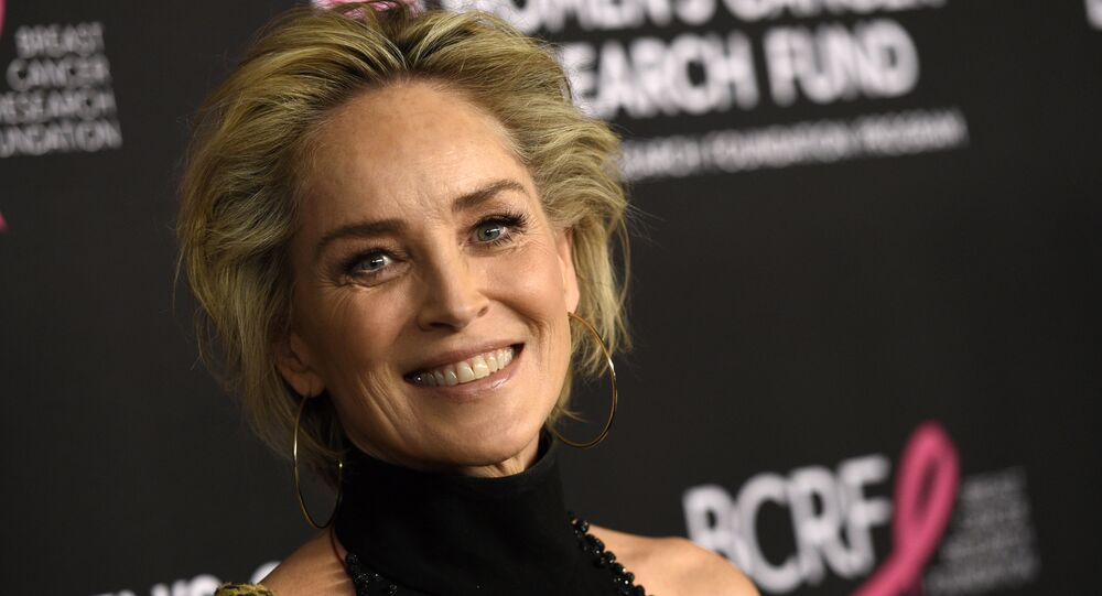 Actress Sharon Stone poses at An Unforgettable Evening benefiting the Women's Cancer Research Fund, at the Beverly Wilshire Hotel, Thursday, Feb. 28, 2019, in Beverly Hills, Calif.