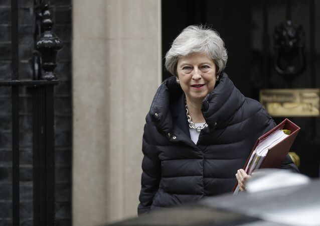 British Prime Minister Theresa May leaves 10 Downing Street in London, to attend Prime Minister's Questions at the Houses of Parliament, Wednesday, May 8, 2019