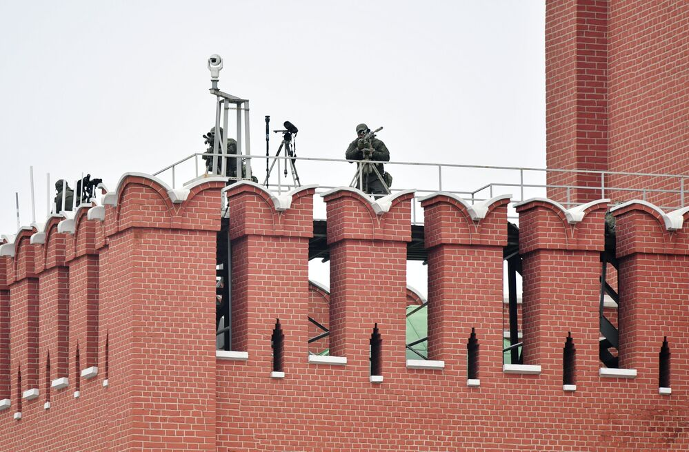 Snipers Before Victory Day Parade at the Red Square in Moscow