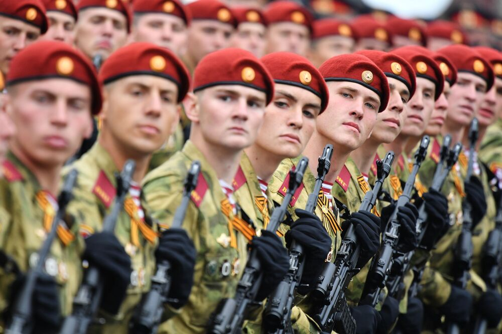 National Guard's Military During the Victory Day parade at the Red Square in Moscow