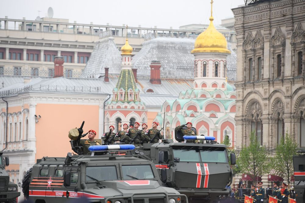 Military Police Take Part in the Victory Day Parade at the Red Square in Moscow