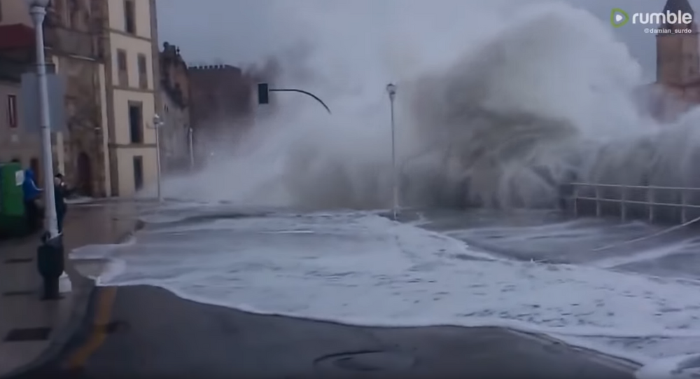 Massive Waves Flood Streets, Soak Cantabria Pedestrians