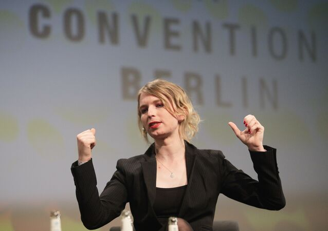Chelsea Manning attends a discussion at the media convention 'Republica' in Berlin, Wednesday, May 2, 2018.