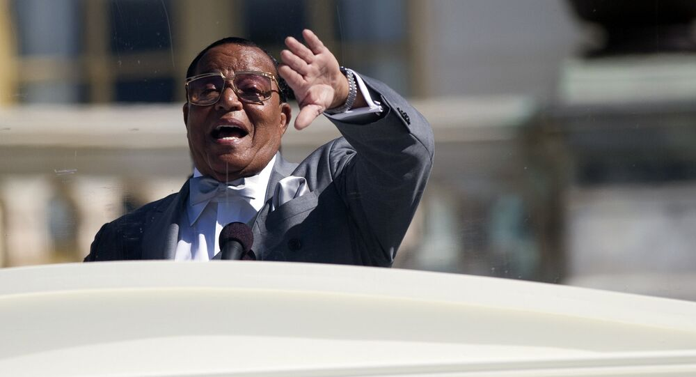 Nation of Islam leader Louis Farrakhan speaks during a rally to mark the 20th anniversary of the Million Man March, on Capitol Hill, on Saturday, Oct. 10, 2015, in Washington