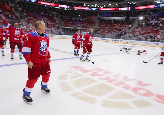 Vladimir Putin at gala hockey match in Sochi, May 10, 2019.