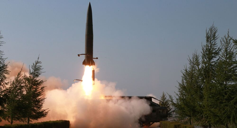 A missile is seen launched during a military drill in North Korea, in this May 10, 2019 photo supplied by the Korean Central News Agency (KCNA)