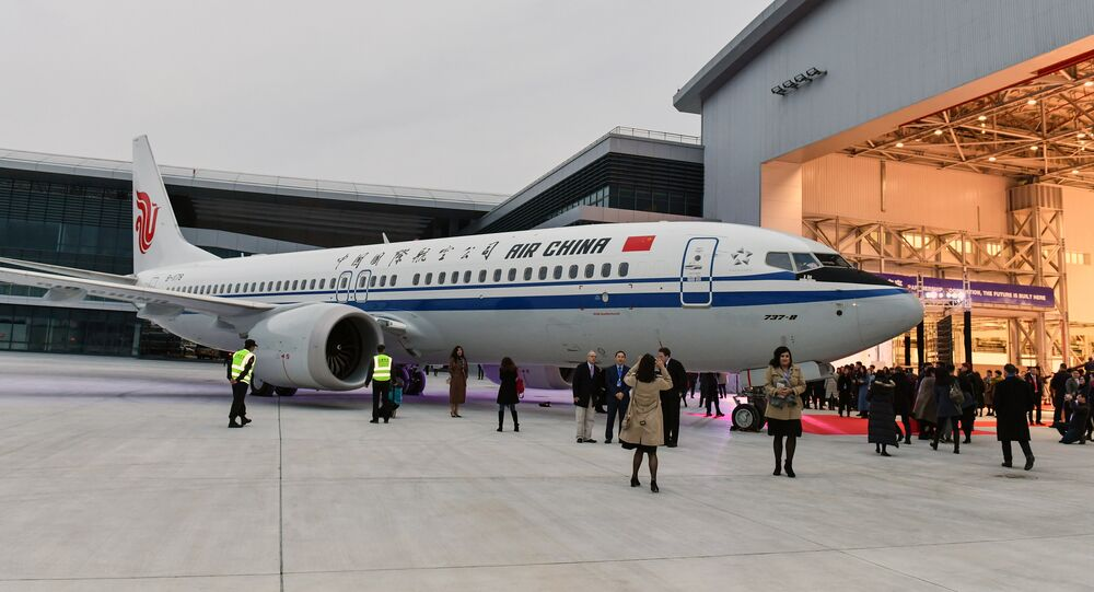 This photo taken on December 15, 2018 shows a Boeing 737 MAX 8 airplane delivered to Air China during a ceremony at Boeing Zhoushan 737 Completion and Delivery Center in Zhoushan, in China's eastern Zhejiang province