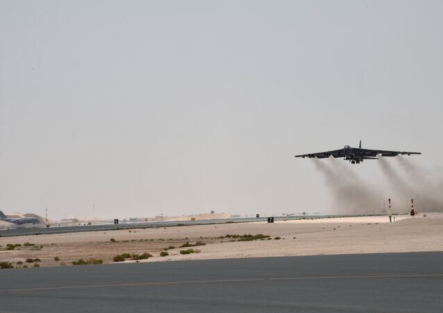 A U.S. Air Force B-52H Stratofortress aircraft assigned to the 20th Expeditionary Bomb Squadron takes off from Al Udeid Air Base, Qatar, May 12, 2019. This was the first mission of the Bomber Task Force deployed to U.S. Central Command area of responsibility in order to defend American forces and interests in the region.