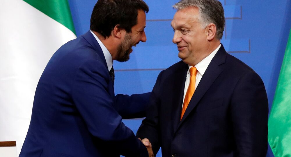 Italian Deputy Prime Minister Matteo Salvini shakes hands with Hungarian Prime Minister Viktor Orban during a joint news conference in Budapest, Hungary May 2, 2019