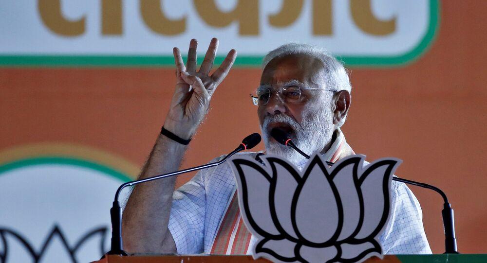 India's Prime Minister Narendra Modi addresses an election campaign rally in New Delhi, India, 8 May 2019