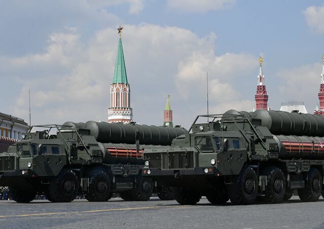Russian S-400 Triumf surface-to-air missile systems roll down the Red Square during a rehearsal for the Victory Day parade in Moscow, Russia