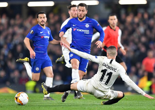 Chelsea's Eden Hazard takes on an Eintracht Frankfurt defender in the Europa League semi final last week