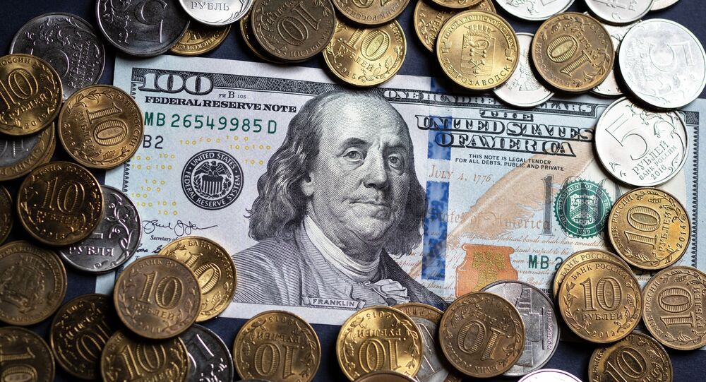 Russian roubles and the bill of the American dollar.