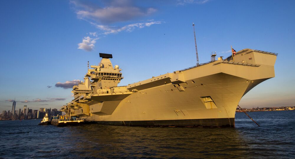 The HMS Queen Elizabeth anchors near the Lower New York Bay. File photo