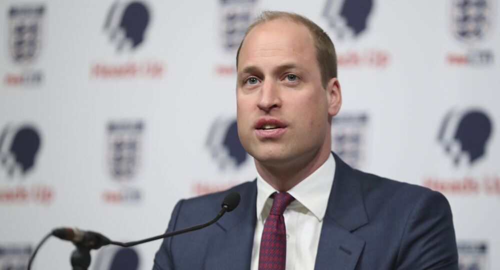 Britain's Prince William, President of the Football Association, right, speaks at the launch of a new mental health campaign at Wembley Stadium, London, Wednesday May 15, 2019