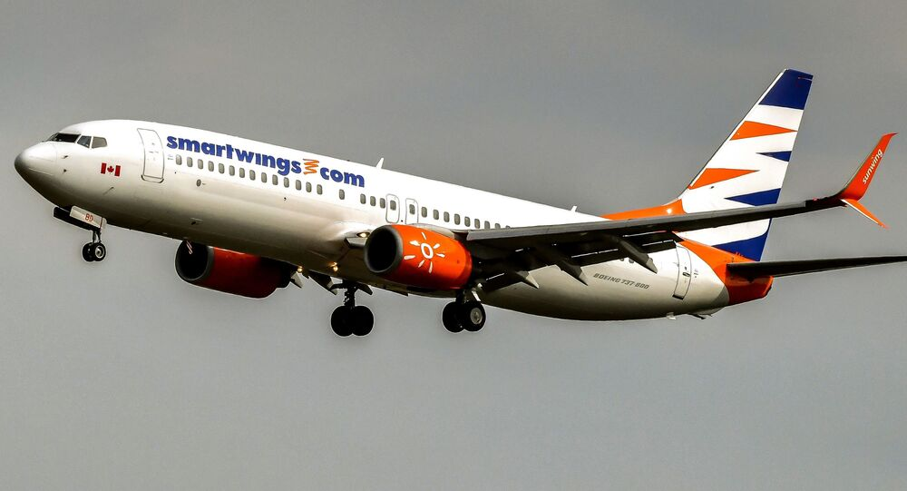 A Boeing 737-700 aircraft from Smartwings lands at Lille Airport in Lesquin on August 25, 2017.