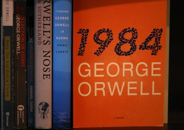 A copy of George Orwell's novel '1984' is displayed at The Last Bookstore on January 25, 2017 in Los Angeles, California.