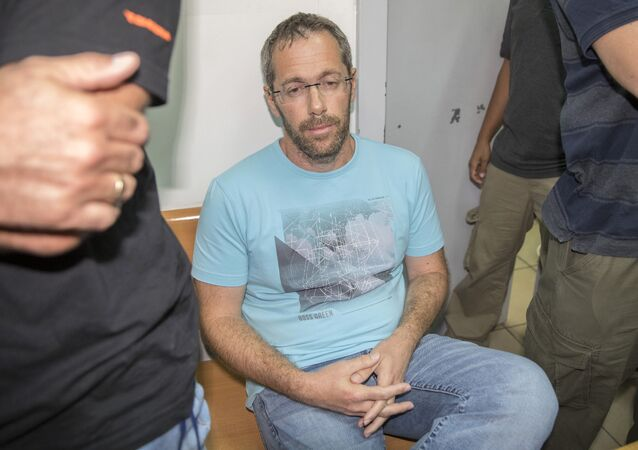 Tal Silberstein, an adviser to Austrian Chancellor Christian Kern, sits at the Israeli Rishon Lezion Justice court, near Tel Aviv on August 14, 2017 after he was detained as part of an international money laundering investigation