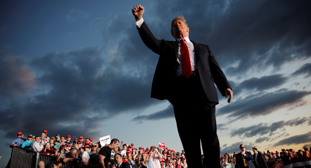 U.S. President Donald Trump reacts as he addresses a Trump 2020 re-election campaign rally in Montoursville, Pennsylvania, U.S. May 20, 2019