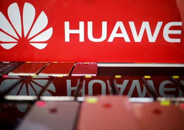 The logo of Huawei is pictured at a mobile phone shop in Singapore, May 21, 2019