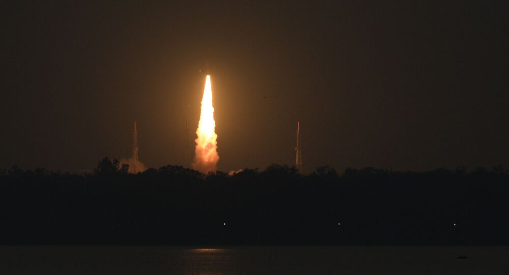 The Indian Space Research Organisation's (ISRO), Polar Satellite Launch Vehicle (PSLV-C46) launches on board India's radar imaging earth observation satellite RISAT-2B from Satish dawan space center in Sriharikota, in the state of Andhra Pradesh on May 22 , 2019.