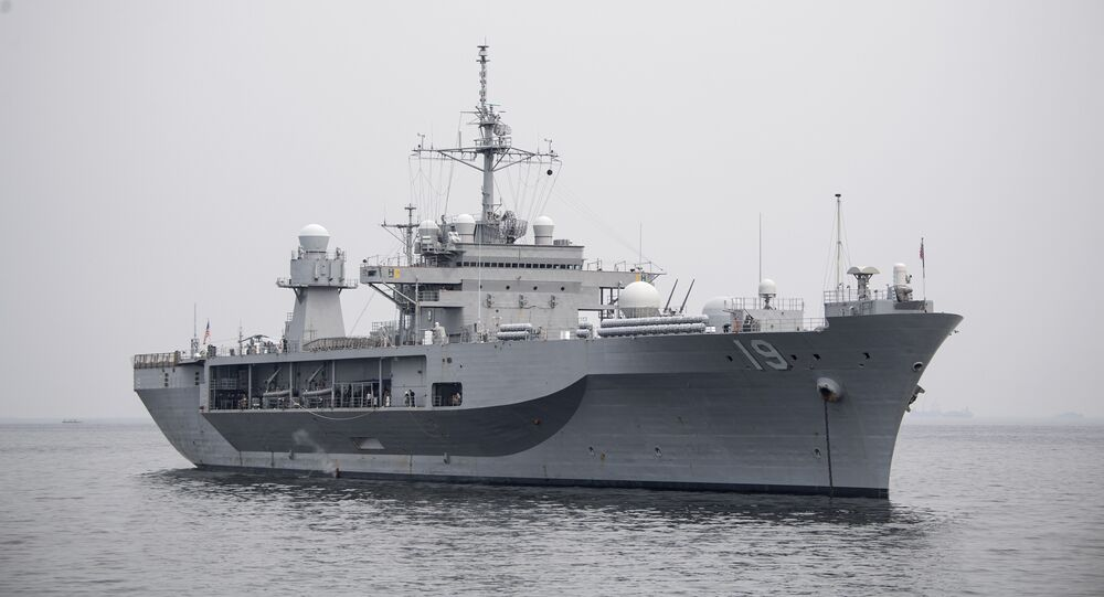 The USS Blue Ridge arrives in Manila Bay for a visit to the Philippine capital on March 13, 2019