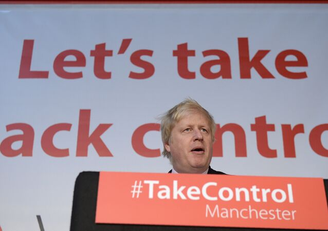 Boris Johnson at the podium during a Vote Leave event during the 2016 Brexit referendum