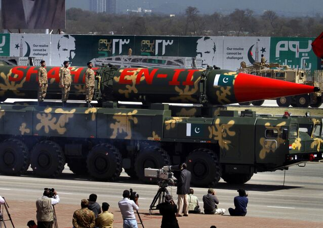 A Pakistani Shaheen II missile is displayed during the Pakistan National Day parade in Islamabad, Pakistan, Monday, March 23, 2015
