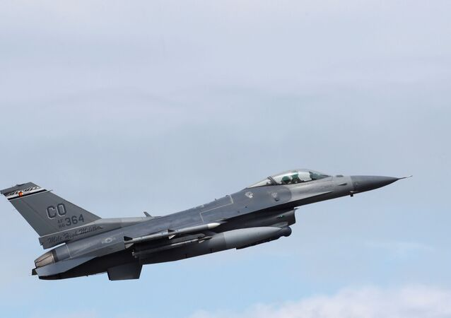 A US Air Force F-16 jet during a NATO exercise in Estonia, June 12, 2018