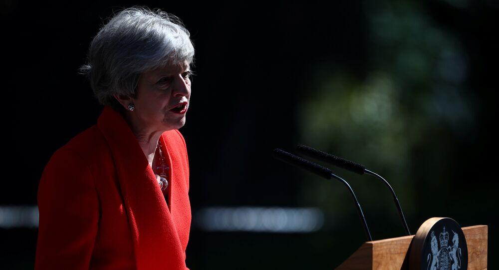 British Prime Minister Theresa May makes a statement, at Downing Street in London, Britain, May 24, 2019