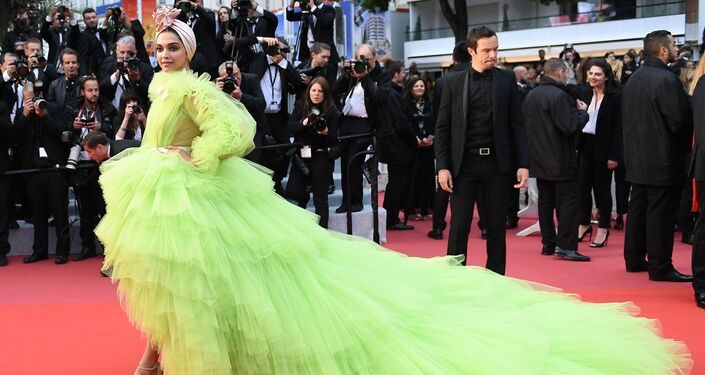Actress Deepika Padukone poses for photographers upon arrival at the premiere for the film 'Pain and Glory' at the 72nd international film festival, Cannes, southern France, Friday, May 17, 2019