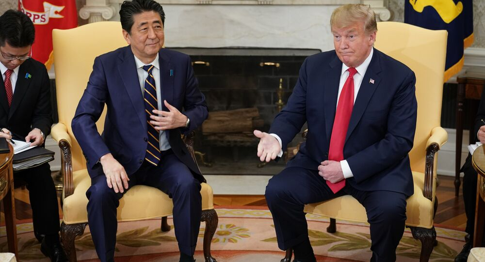 US President Donald Trump takes part in a bilateral meeting with Japan's Prime Minister Shinzo Abe in the Oval Office of the White House in Washington, DC on April 26, 2019.