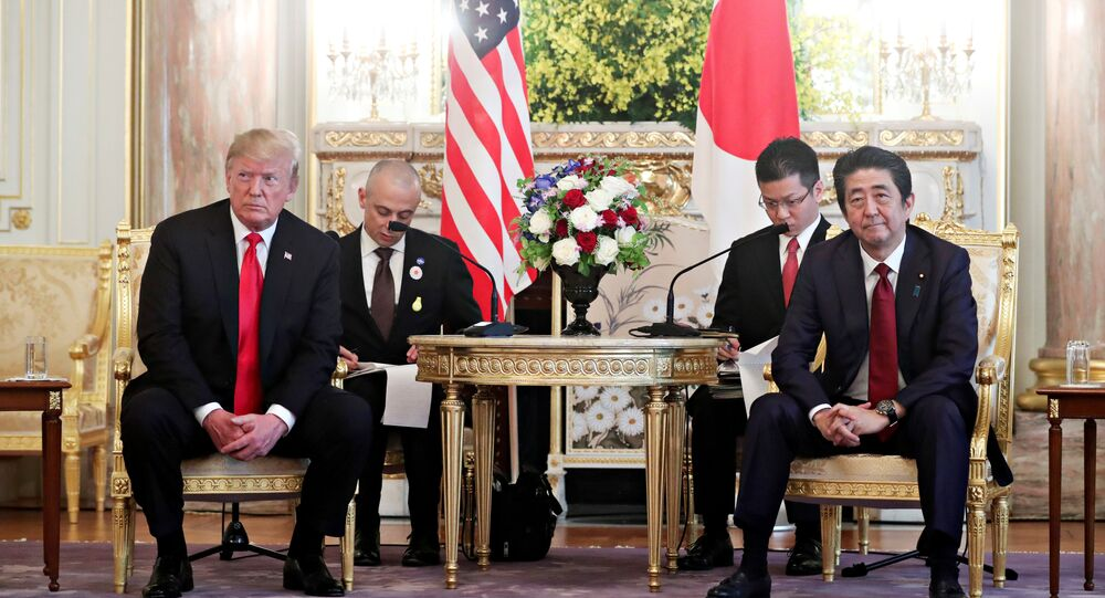 U.S. President Donald Trump meets with Japan's Prime Minister Shinzo Abe for a bilateral meeting in Tokyo, Japan May 27, 2019. REUTERS/Jonathan Ernst