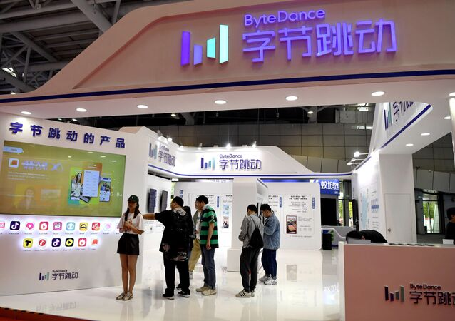 People are seen at the Bytedance Technology booth at the Digital China exhibition in Fuzhou, Fujian province, China May 5, 2019. Picture taken May 5, 2019