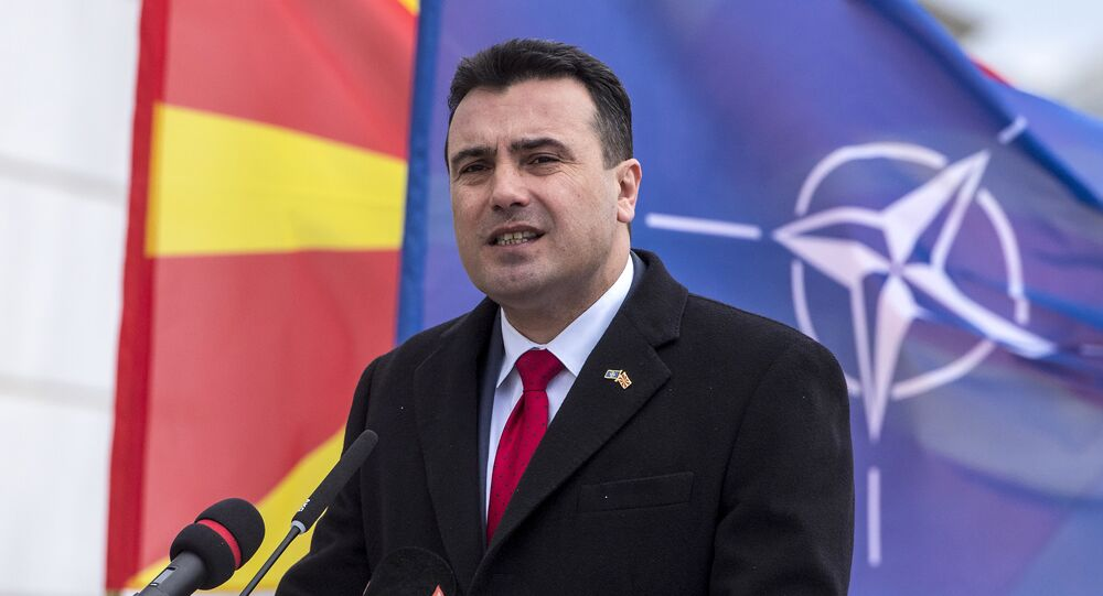 Macedonia's Prime Minister Zoran Zaev addresses the nation during an official ceremony of raising the NATO flag in front of the Government of Macedonia in Skopje on February 12, 2019.