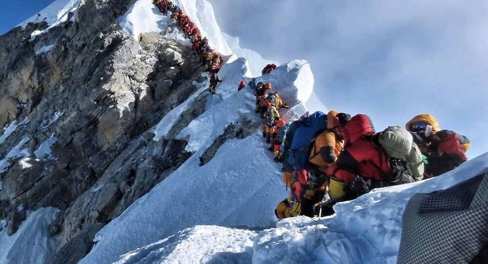 A record number of climbers have summited Mount Everest in April and May, the peak climbing months. Last week, there were reports of massive crowding, especially near Hillary Step, where climbers had to walk single file. On 22 May the Kathmandu Post reported that a record 200 had climbed up to the top in a single day