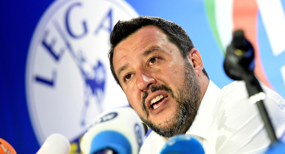 Italian Deputy Prime Minister and leader of far-right League party Matteo Salvini speaks during his European Parliament election night event in Milan, Italy, May 27, 2019