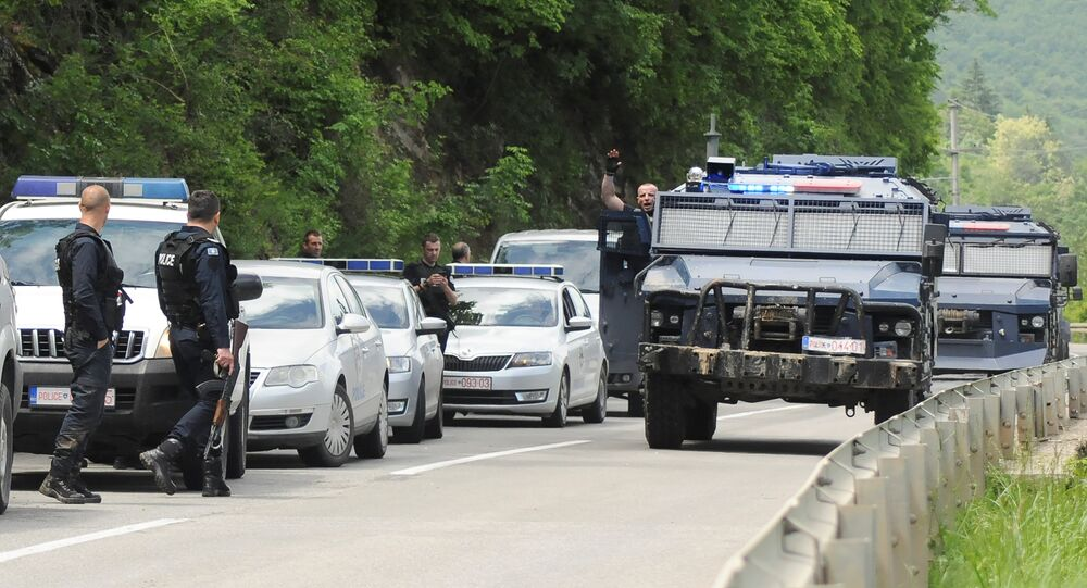 Kosovo police secure the area near the town of Zubin Potok, Kosovo, May 28, 2019